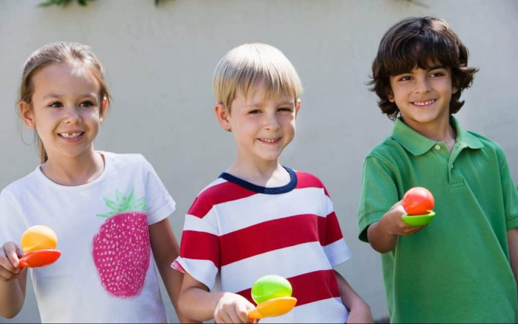 Egg and spoon race for kids