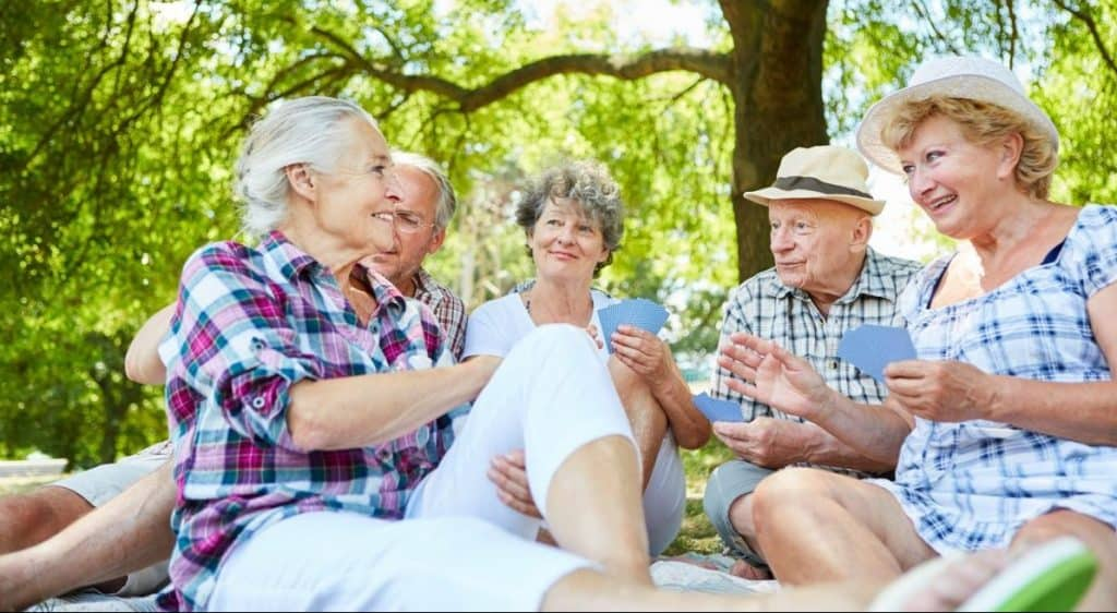Older adults playing cards on a picnic